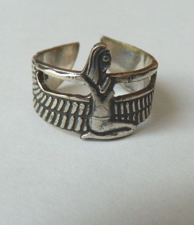 Egyptian Sterling Silver Winged Isis Expandable Oxodized Ring | eBay