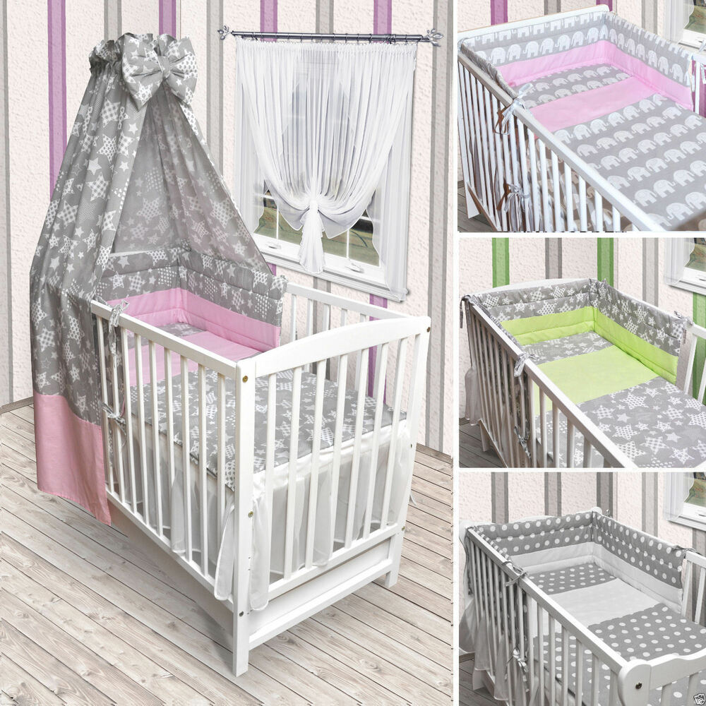 babybett kinderbett wei bettw sche bettset komplett neu sterne grau ebay. Black Bedroom Furniture Sets. Home Design Ideas