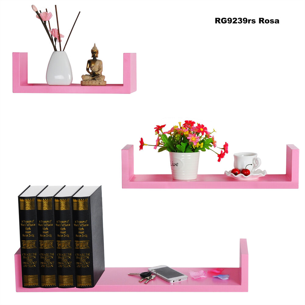 wandregal 3er set regale h ngeregal b cher cd regal holzregal rosa rg9239rs ebay. Black Bedroom Furniture Sets. Home Design Ideas