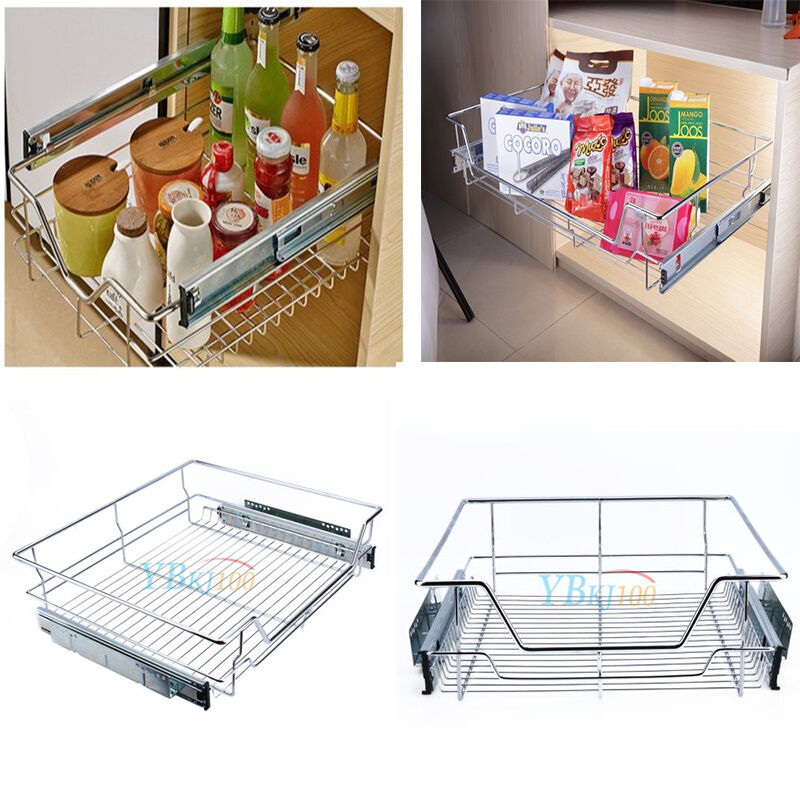 Pull Out Sliding Metal Kitchen Pot Cabinet Storage: Kitchen Pantry Pull Out Sliding Metal Basket Drawer