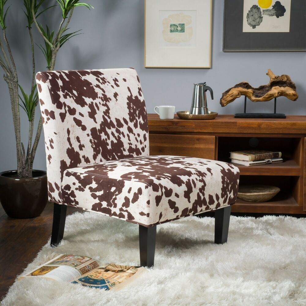 Set of 2 Cow Print Fabric Slipper Accent Chairs