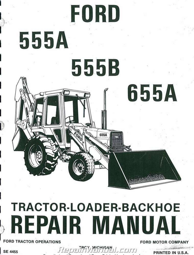 Ford 555 Backhoe Parts Manual : Ford a b tractor loader backhoe printed service