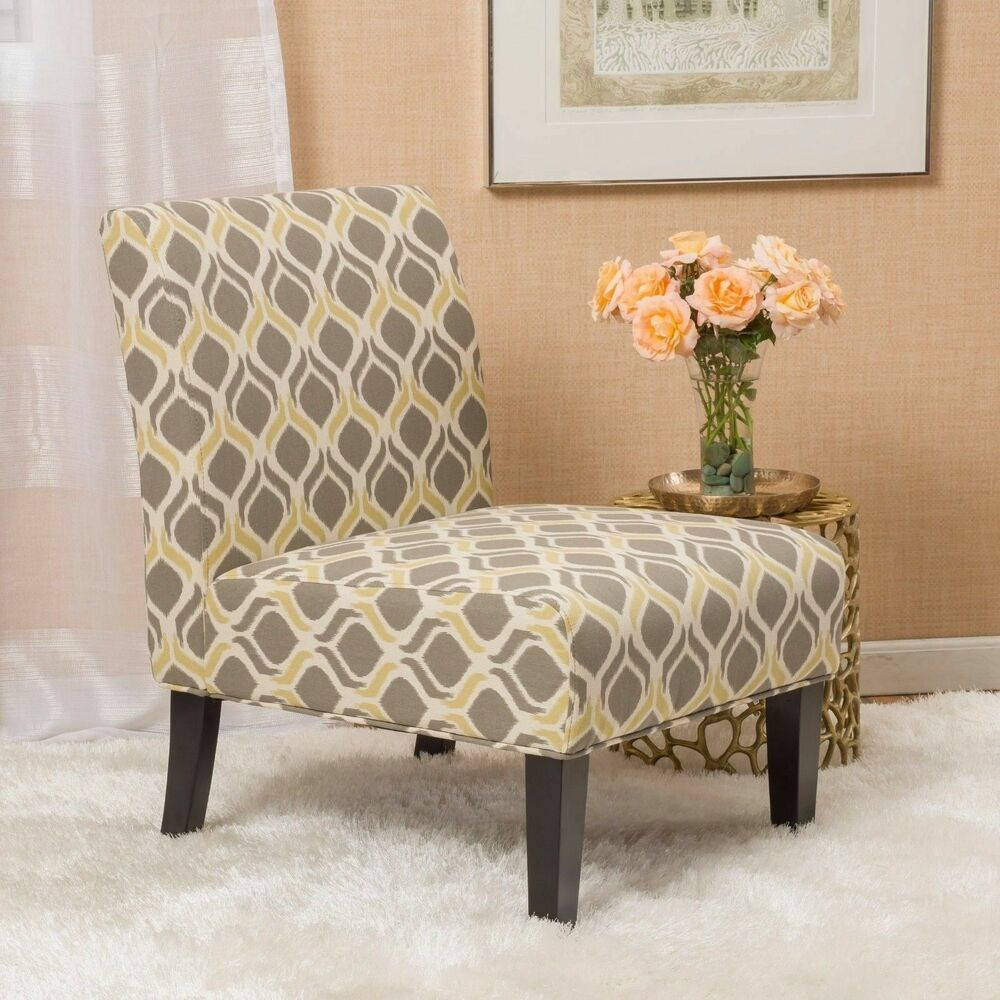 Yellow and Grey Fabric Slipper Chair (Set of 2) | eBay