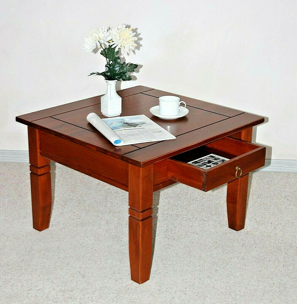 couchtisch beistelltisch 65x65 cm tisch mit schublade holz massiv kirsch farben ebay. Black Bedroom Furniture Sets. Home Design Ideas
