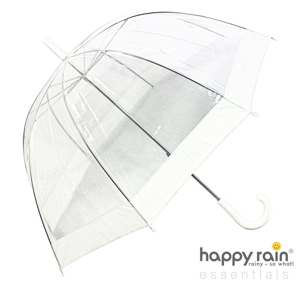 regenschirm transparent durchsichtig wei hochzeit glockenschirm happy rain ebay. Black Bedroom Furniture Sets. Home Design Ideas