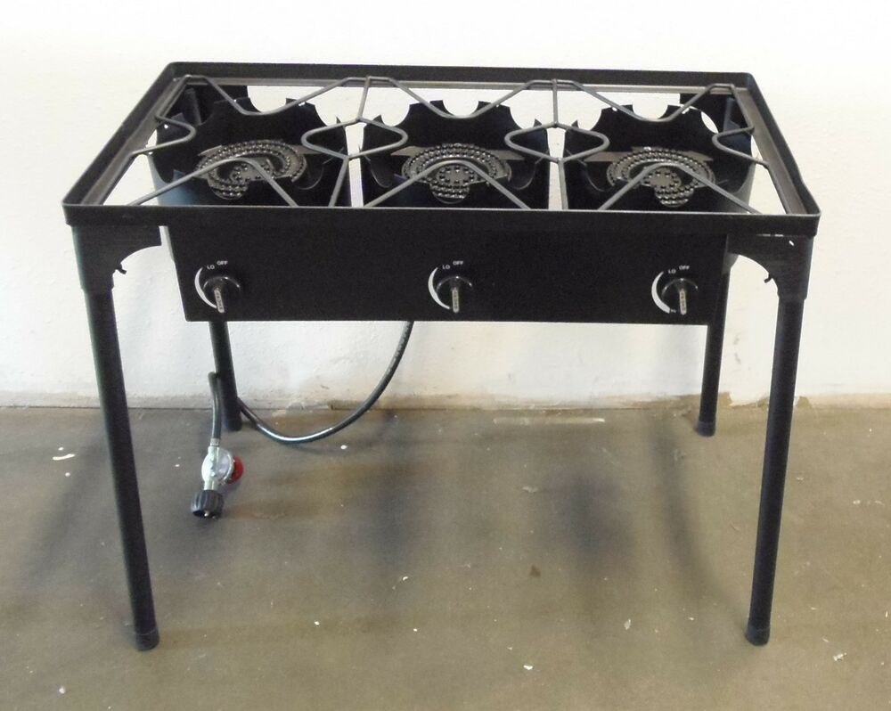 Hd Triple Burner Cast Iron Outdoor Stove Canning Beer