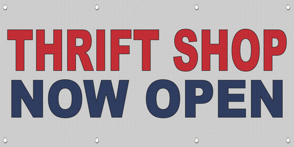 Thrift Shop Now Open Red Blue MESH Windproof Fence Banner ...