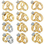 Women's Stainless Steel 18K Gold Plated CZ Engagement Wedding Band Ring Set Pair