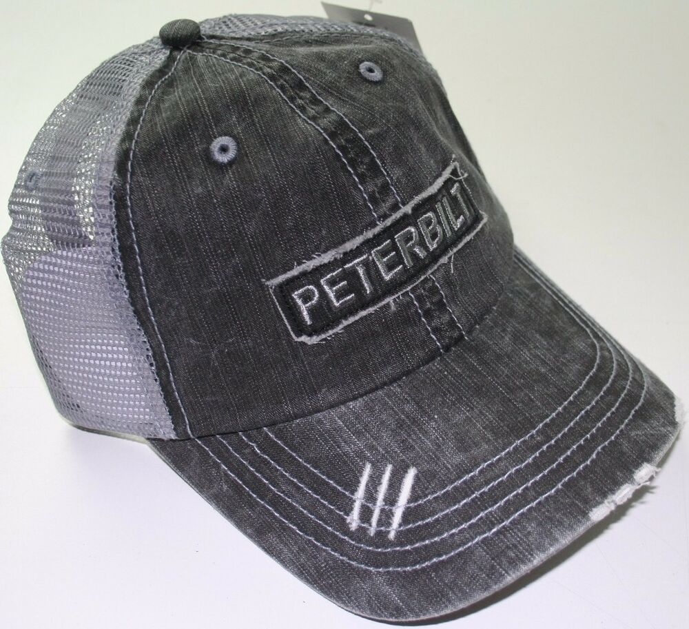 peterbilt denim mesh distressed semi diesel truck hat cap. Black Bedroom Furniture Sets. Home Design Ideas