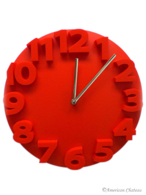 retro embossed numbers red designer kitchen wall clock ebay