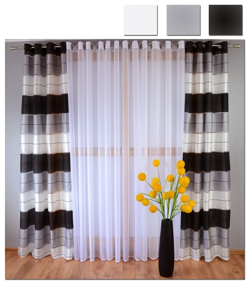 Eyelet Ready Made Voile Striped Curtains White Grey Black Ready Hang Silver Pair Ebay