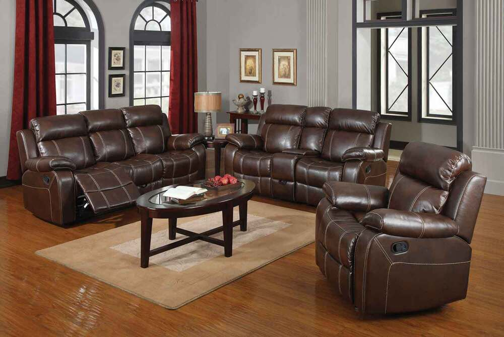 Brown baseball stitch leather reclining motion sofa Baseball sofa