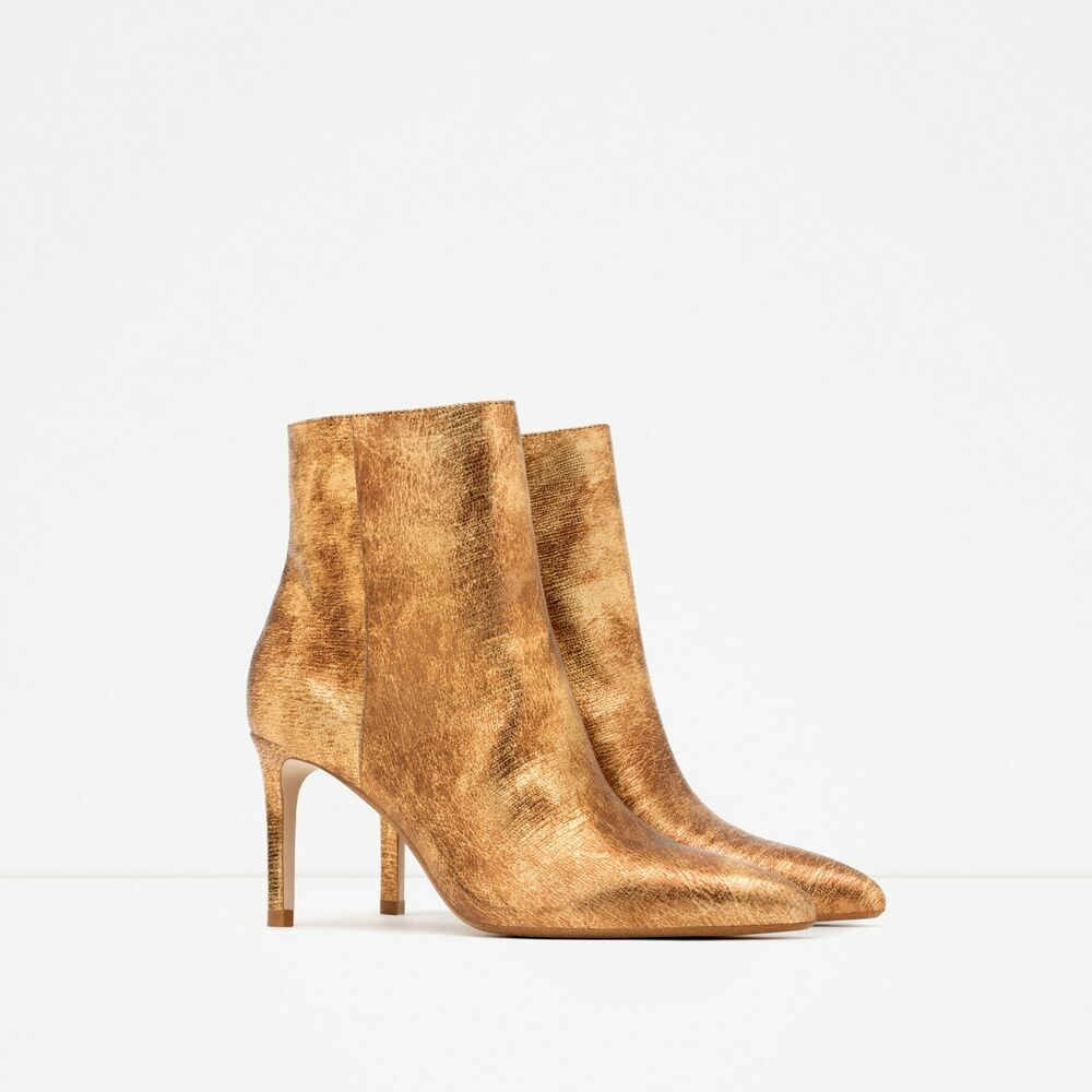 zara shiny leather gold high heel ankle boots new sz 39 us