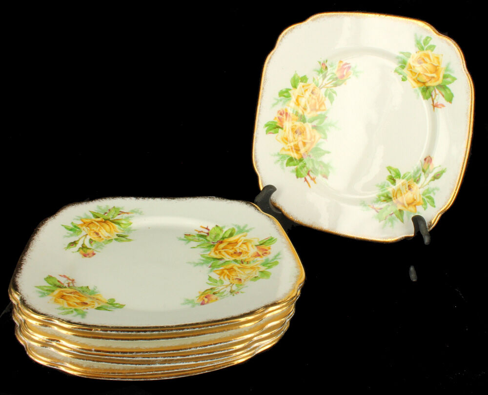 vintage royal albert bone china set of 8 salad plates tea rose ebay. Black Bedroom Furniture Sets. Home Design Ideas