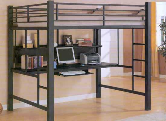 Black Metal Full Loft Youth Bunk Bed Amp Desk Workstation