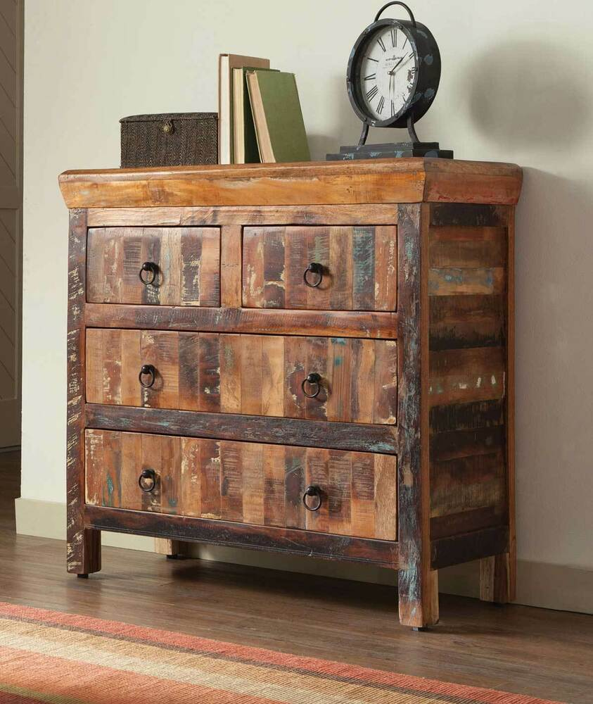 Artsy rustic reclaimed wood finish drawer storage