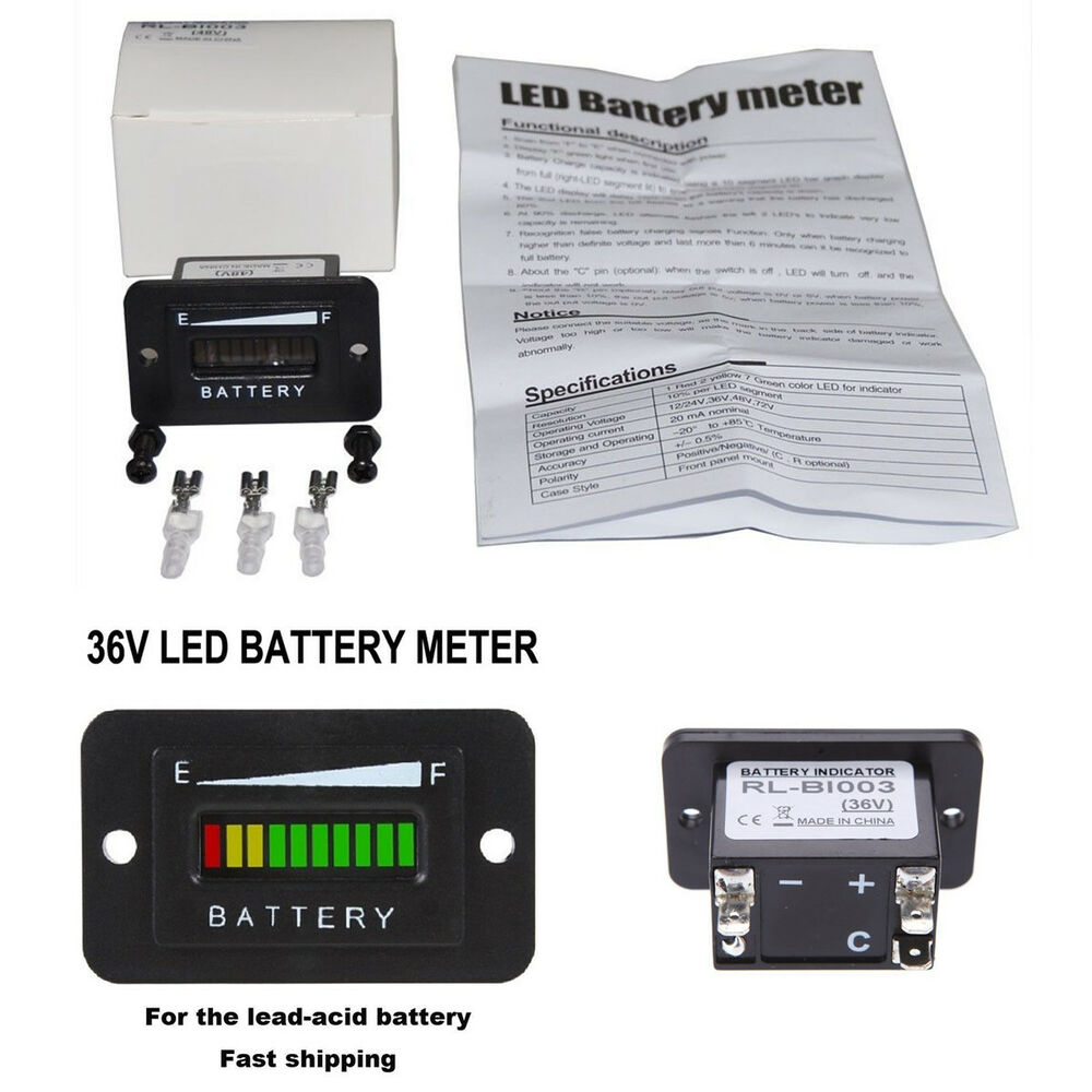 Rv Battery Voltage Gauge : Volt lead acid battery indicator meter gauge for ezgo