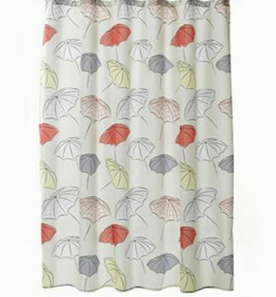 Details About Home Classics Umbrellas Fabric Shower Curtain Gray Yellow Red Bath