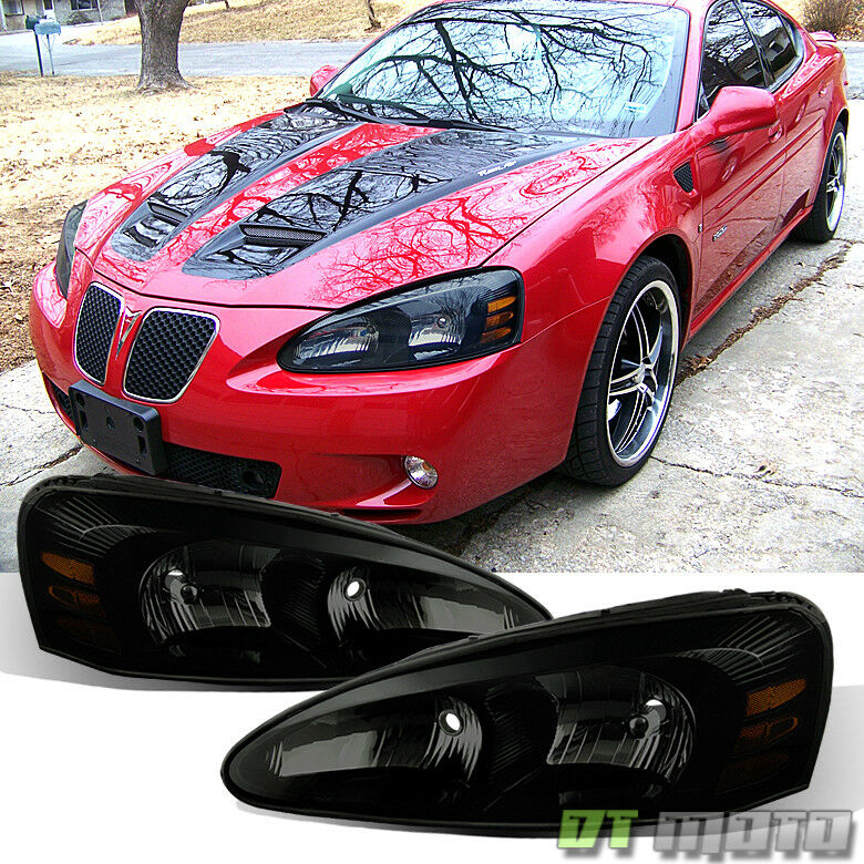 black smoked 04 08 pontiac grand prix headlights lights left right 2004 2008 ebay. Black Bedroom Furniture Sets. Home Design Ideas