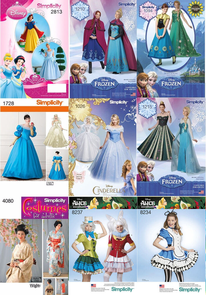 simplicity sewing pattern costume disney princess