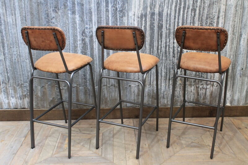 Tan Leather Industrial Look Bar Stool Tall Vintage Style