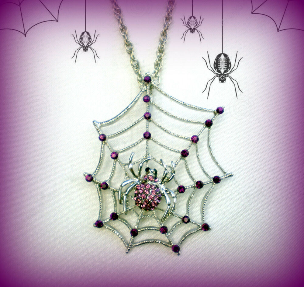 Halloween purple spider web rhinestone silver necklace for Vintage costume jewelry websites