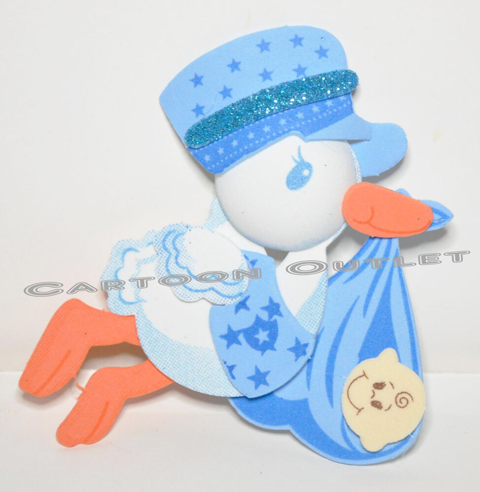 10 pc baby shower favors gifts blue stork decoration for Baby shower foam decoration