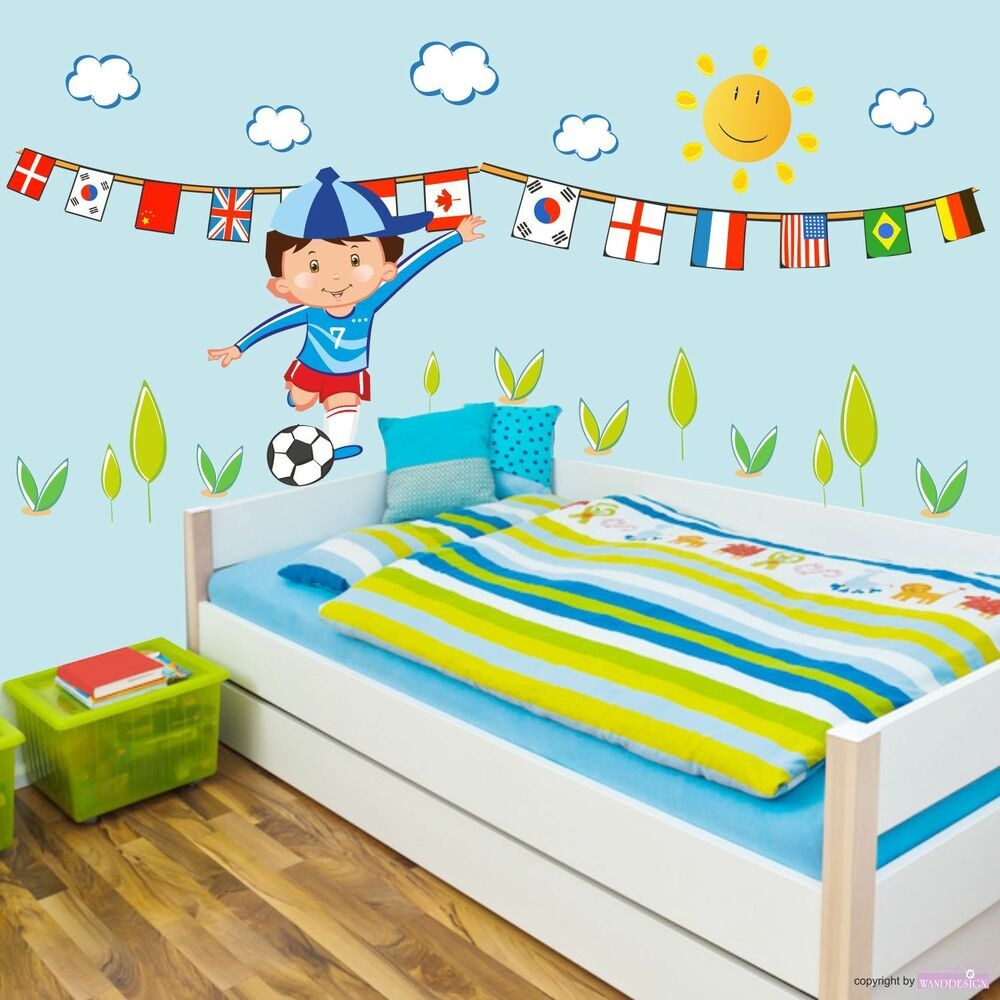wandtattoo fu ball zimmer wolken sonne junge sport kinderzimmer wandaufkleber ebay. Black Bedroom Furniture Sets. Home Design Ideas