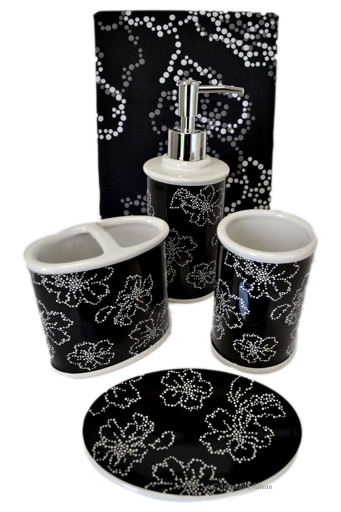 5 pc bath black white flowers bathroom accessory set w for Black white bathroom set