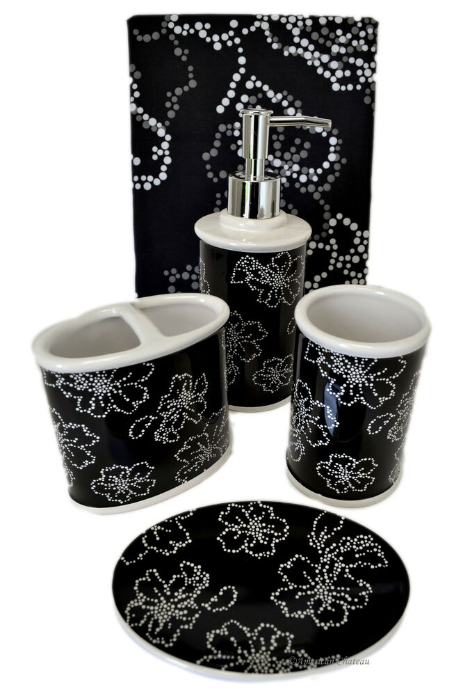 5 pc bath black white flowers bathroom accessory set w for Black bath accessories sets