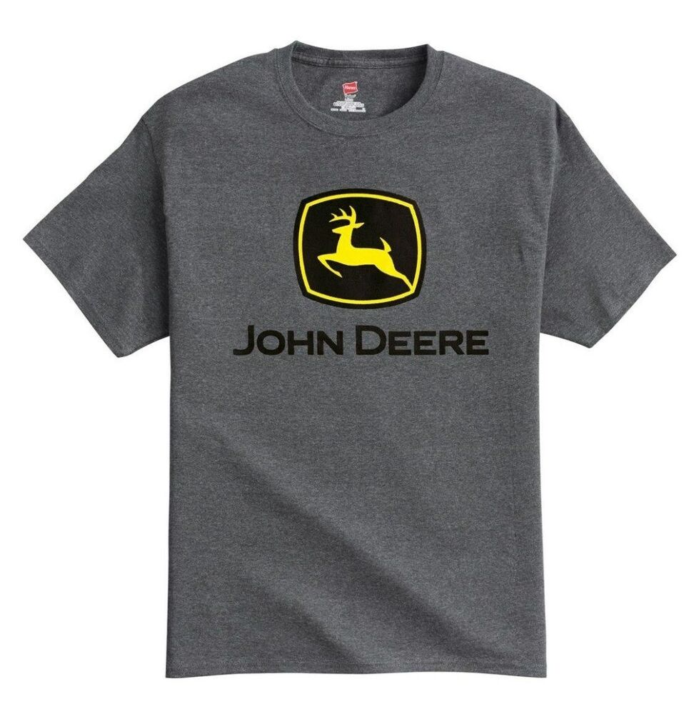 new john deere charcoal gray t shirt construction logo