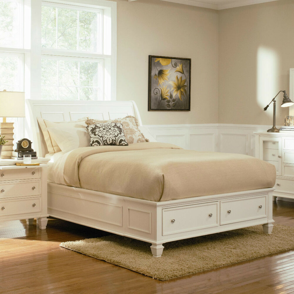Stylish soft white king storage sleigh bed bedroom for Bedroom furniture beds