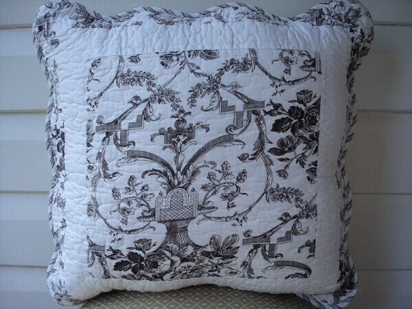 French Country Toile Cushion Throw Pillow Cover Black White eBay