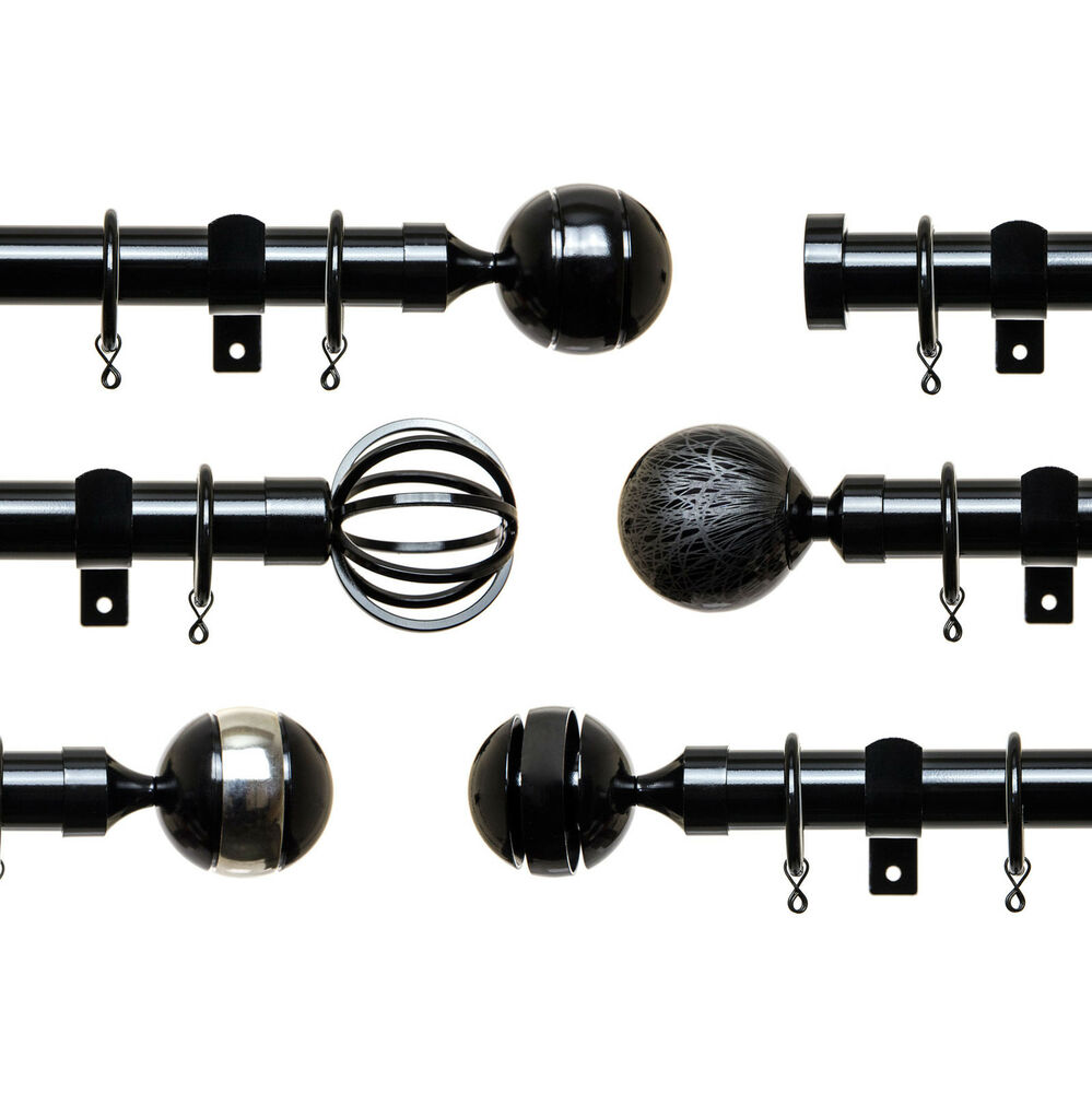 28mm Dia Metal Curtain Pole Set Black Gloss 120 180 240 Cm