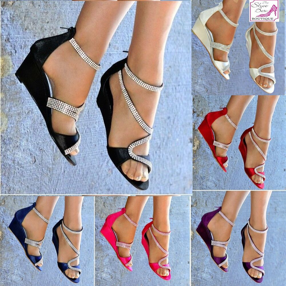 LADIES SATIN DIAMANTE DETAIL LOW MID WEDGE HEEL PEEP TOE