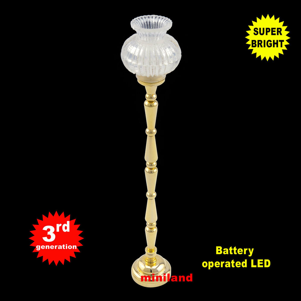 Brass Floor LED LAMP Dollhouse Miniature Light Battery On