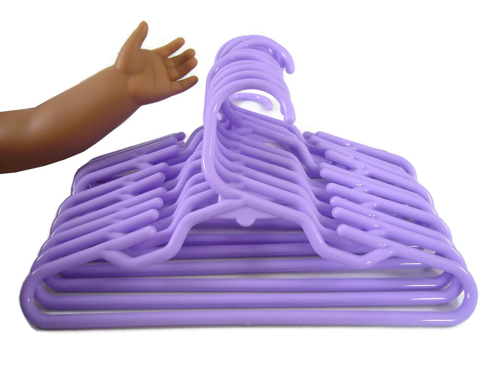 12 Purple Plastic Doll Clothes Hangers For American Girl