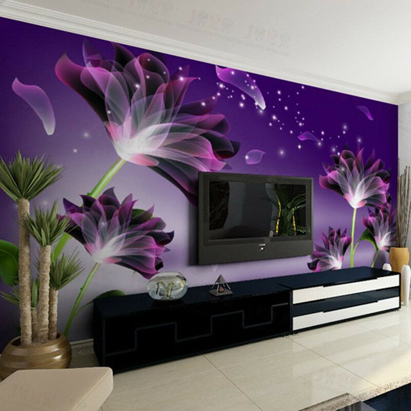 3d sitting room the bedroom tv mural background purple 19562 | s l1000