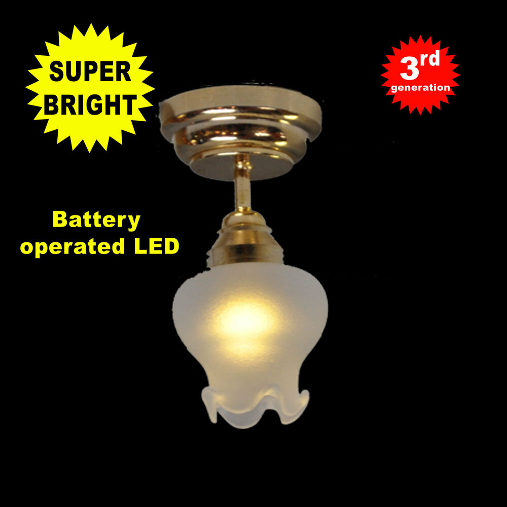 Dollhouse Miniatures Battery Lights: Ceiling/table Lg Bright Battery Operated LED LAMP