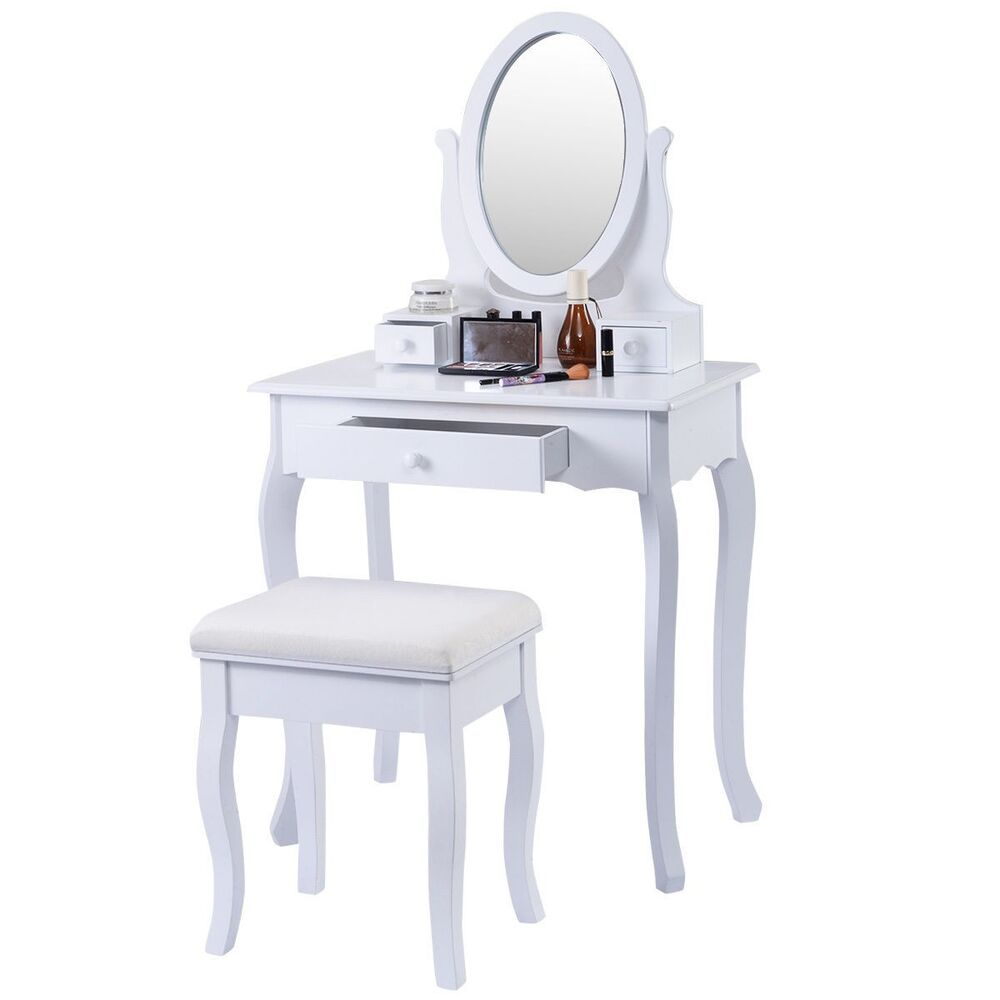 White Vanity Table Jewelry Makeup Desk Bench Dresser Stool