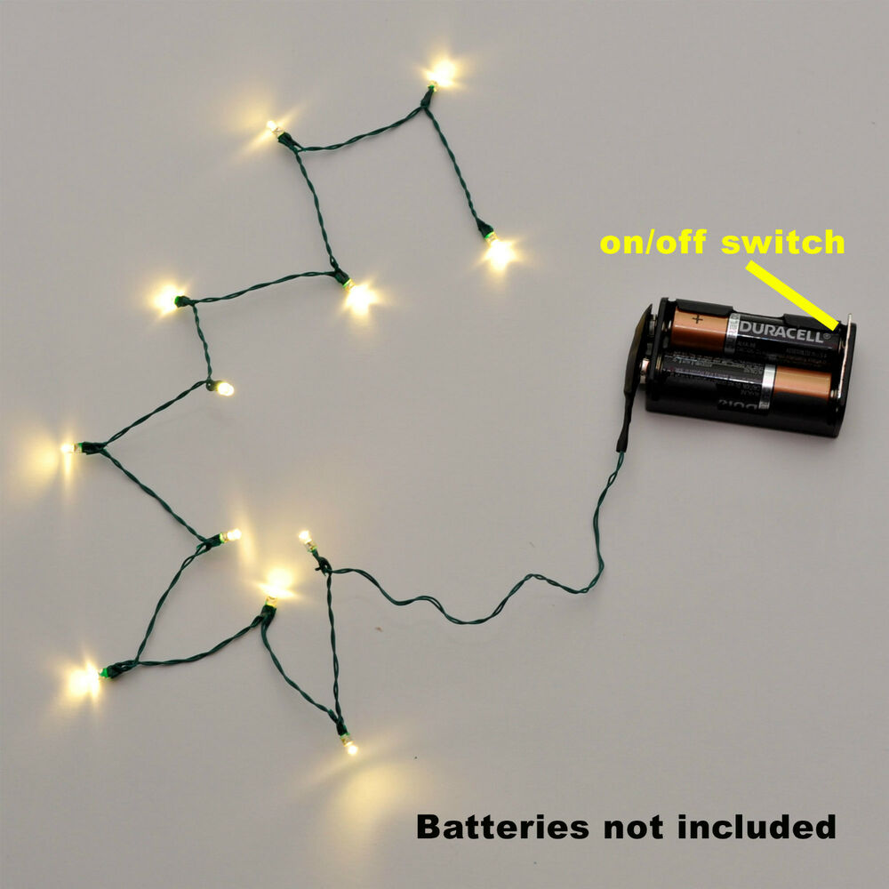 Dollhouse Miniatures Battery Lights: X'mas String 3V/12 LED's Warm White CHRISTMAS TREE LIGHTS