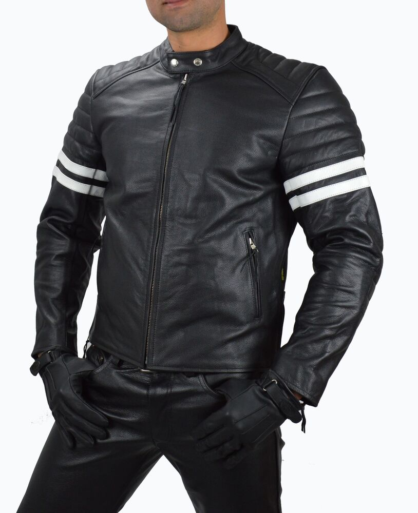 1089 l real leder motorradjacke motorrad jacke lederjacke retro biker jacket ebay. Black Bedroom Furniture Sets. Home Design Ideas
