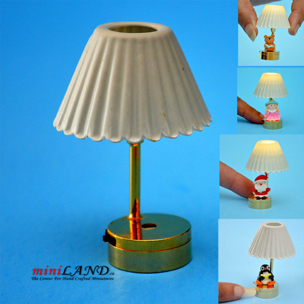 DIY TABLE LED LAMP LIGHT BATTERY 1:12 DOLLHOUSE MINIATURE