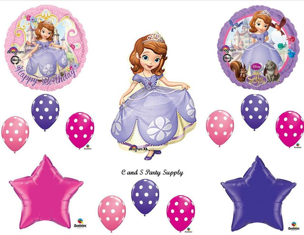 Princess sofia the first happy birthday party balloons for Balloon decoration equipment