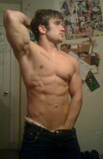 Shirtless Male Muscle Jock Underarm Hair Abs Beefy Dude