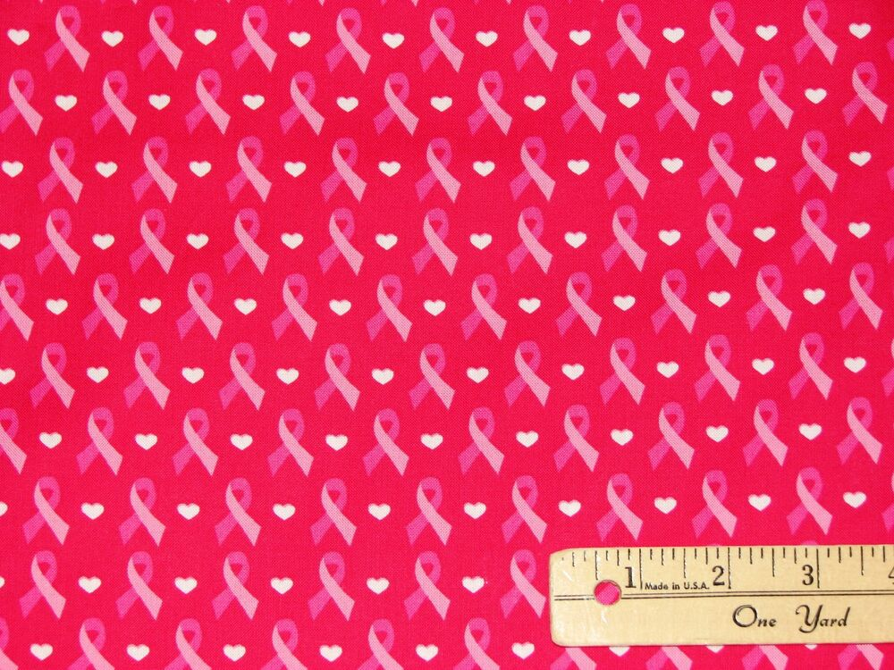 Pink Ribbon Breast Cancer Survivor Cure On Pink Fabric By