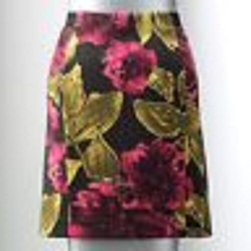 238392a13dd Details about NWT Simply Vera Wang Floral Ponte Pencil Skirt L M XL Black  Green Pink Rose NEW