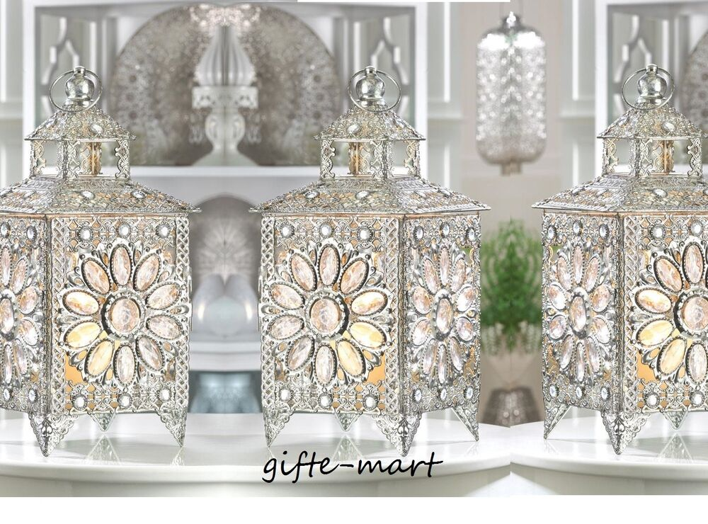 Silver crystal flower cluster moroccan lantern candle