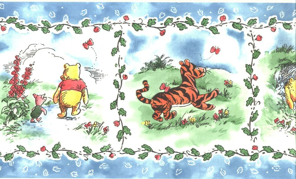 disney classic winnie the pooh with friends wallpaper border kids room decor ebay. Black Bedroom Furniture Sets. Home Design Ideas