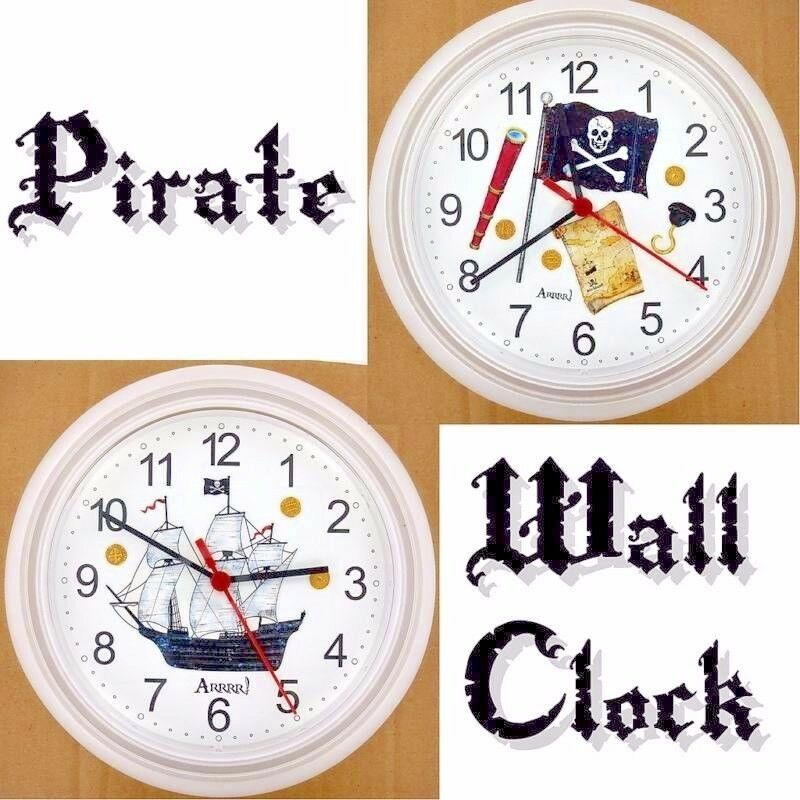 Pirate Wall Clock Jolly Roger Ship Boat Ahoy Matey Arrr Outlaw